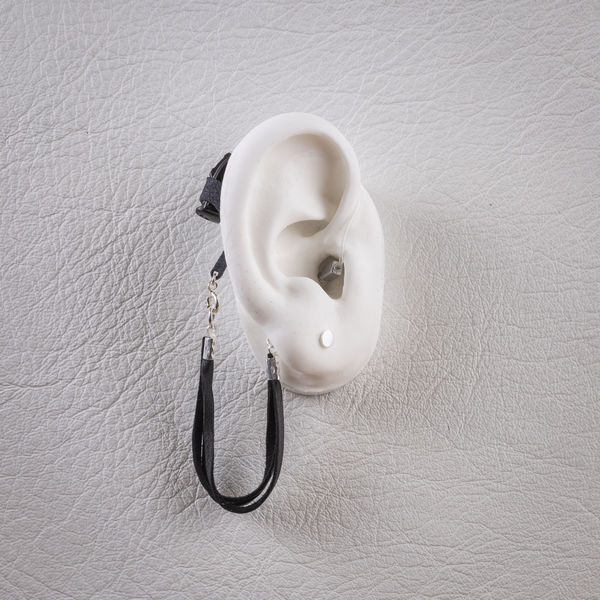 Leather Chain Black - Hearing Aid Jewelry